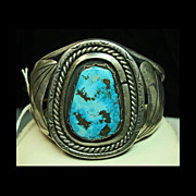 REDUCED Sterling Silver Cuff Bracelet with Aqua Color Turquoise with Dark Matrix
