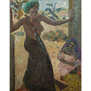 Germaine (Paul) Gaugauin Chardon  * Original Oil of African Black Native Nude Lady