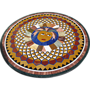 Pietra Dura Round Table Top with Custom Base