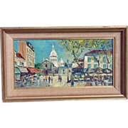 SALE Mystery Artist 1950s Montmarte Paris Street Scene