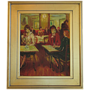 SALE Vintage Oil by BURNETT of figures in a Paris Cafe