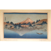 Antique Katsushiki Hokusai  Wood Block Print &quot;Refection of Fuji&quot;