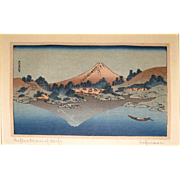 SALE Antique Katsushiki Hokusai  Wood Block Print &quot;Refection of Fuji&quot;