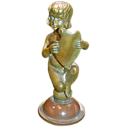 SALE 19TH Century Bronze of Child Holding a Shield