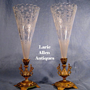 Pair French Etched Crystal Bronze Trumpet Vases