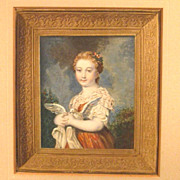 Antique Handcolored Engraving Girl with Dove after Greuze