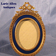 Antique French Bronze Enamel Picture Frame