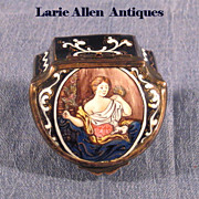 Antique Continental Enamel Patch/Snuff Box Woman and Dog
