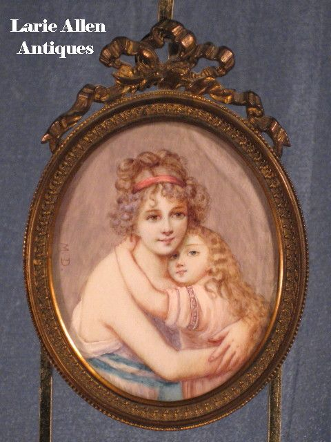 Miniature on Ivory after Elisabeth Vigee Le Brun's Self Portrait with Daughter
