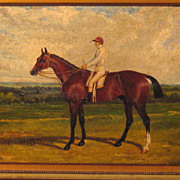 19th Century Oil Horse and Jockey