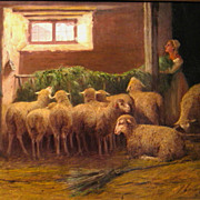 Sheep in Stall 19th Century Oil Signed A. Bremontier