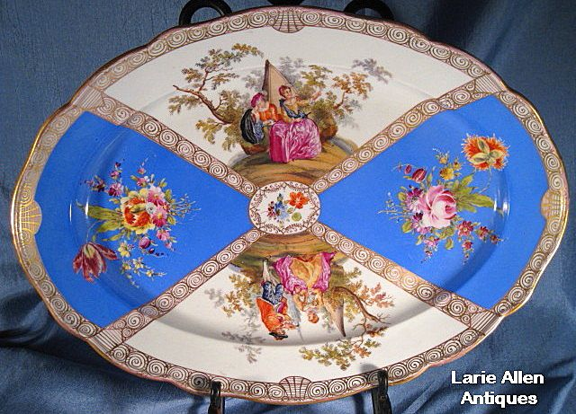 Large French Blue Meissen Platter 16.25""