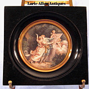 Miniature French Painting Two Lovers Romantic Scene