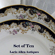 Exquisite 10 pc. Set Antique French Porcelain Cobalt Floral Raised Gold Dinner Plates