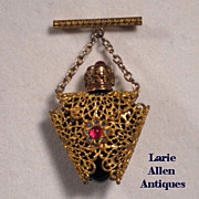 Miniature Czech Filigree Perfume Bottle Chatelaine