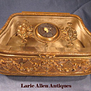 19th Century French Crystal Dore Bronze Casket with Medallion Signed A Bargas
