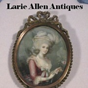 French Bronze Hand Mirror with Marie Antoinette Portrait Miniature
