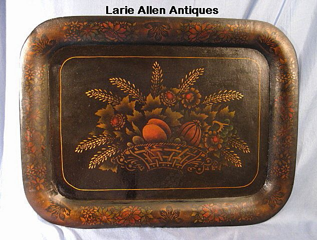 Large 19th Century Tole Tray with Harvest Scene