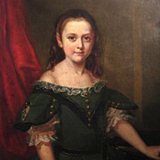 SOLD Life Size Oil Portrait Young Girl 19th Century American