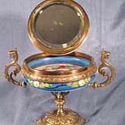 French Handpainted Compote Bronze Mounts with Vanity Mirror