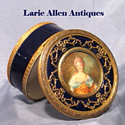 French Cobalt Blue Porcelain Box Portrait Miniature Diana