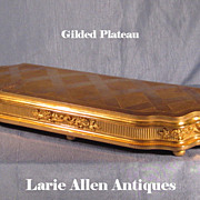Large Antique French Gilded Base Plateau