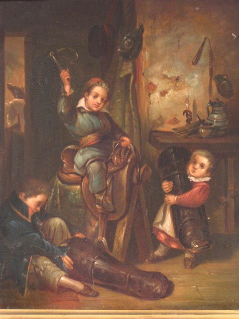 19th Century Oil Genre Scene Children Playing