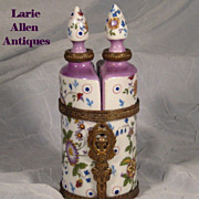 Handpainted French Porcelain Double Perfume Bottles Brass Stand