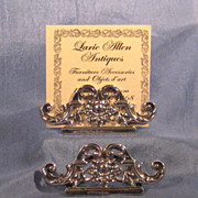 Pair English Sterling Menu Place Card Holders Hallmarked 1905