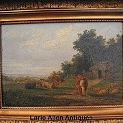 SOLD 19th Century British Oil on Panel Cattle and Sheep Resting