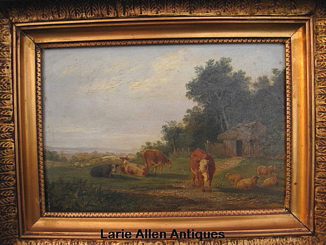 19th Century British Oil on Panel Cattle and Sheep Resting