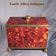 SOLD Antique English Faux Tortoiseshell Tea Caddy