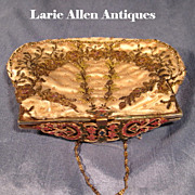 Silk Beaded Purse with Glorious Enamel Frame
