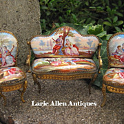 Miniature Viennese Austrian Enamel Parlor Set Settee Two Chairs