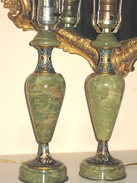 Pair French Onyx and Champleve Table Lamps