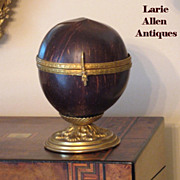 19th Century Coconut Shell Hinged Box with Ormolu
