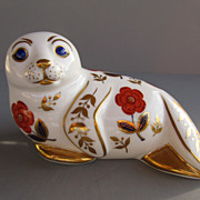 Royal Crown Derby Paperweight - the &quot;Seal&quot; - Issued 1986 w/Gold Button