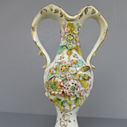 Antique Coalport Coalbrookdale Style Floral Encrusted Vase - c. 1830