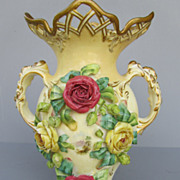 Antique Coalport Porcelain Vase With Applied Flowers - c. 1891