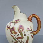 Antique Royal Worcester Blush Ivory Flatback Pitcher - Dated 1886