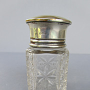 Vintage English Sterling Silver and Cut Glass Perfume Bottle - Birmingham 1919
