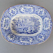 Vintage Ridgways Blue & White Vegetable Bowl - &quot;Oriental&quot; Pattern - c. 1891