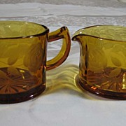 Amber Creamer & Sugar with Cut Rose Pattern, c. 1930s