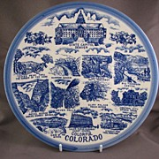 Vintage Colorado Blue & White Souvenir Plate