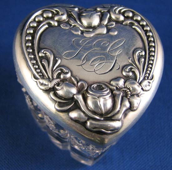 Small Heart Shaped Cut Glass Dresser/Trinket Box With a  Repousse Sterling Lid c. 1900