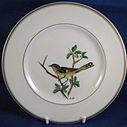 Hand-Painted American Redstart Bird on Plate, Made in Finland