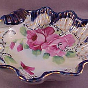 Vintage Porcelain Clam Shell Bowl with Hand-Painted Roses