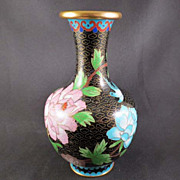 Chinese Cloisonne Vase with Detailed Floral Design