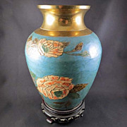 Enameled Brass vase on Carved Stand
