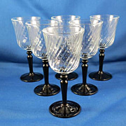 Set of 6 French Cordials with Twisted Bowl